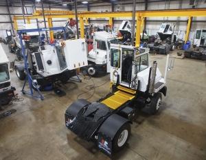 Capacity yard trucks in the mechanic garage
